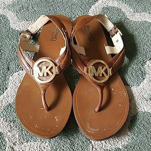 MICHAEL KORS Camel Leather Sandals Sz 10